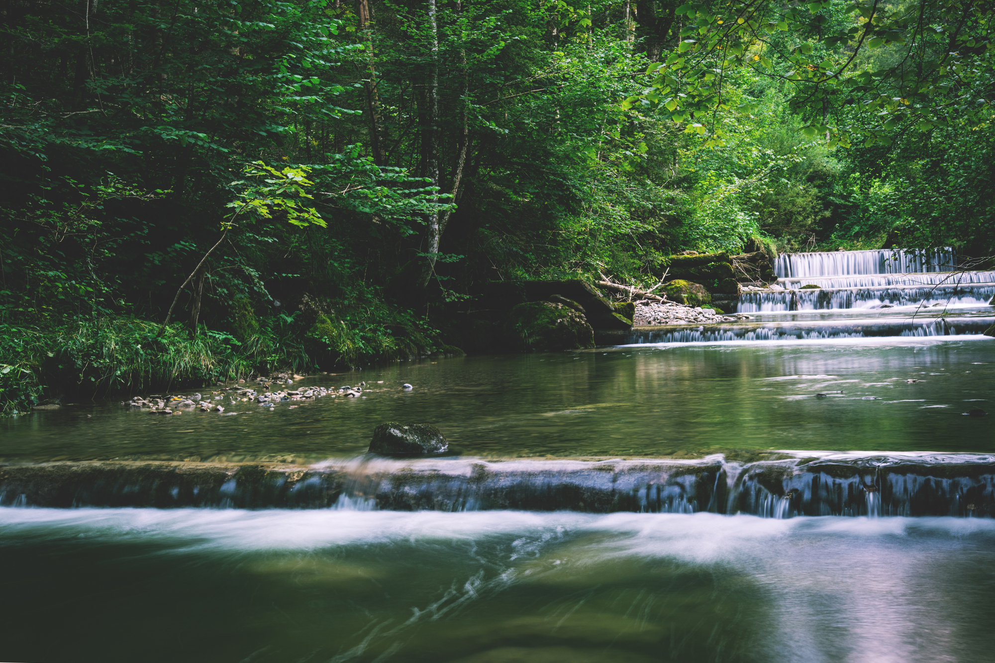 Visualize this serene peaceful stream running over stones in lush green woods for pain management