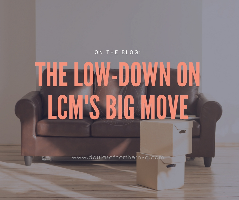 A picture of a leather couch and moving boxes with text referencing details about the Loudoun Community Midwives move to StoneSprings Hospital